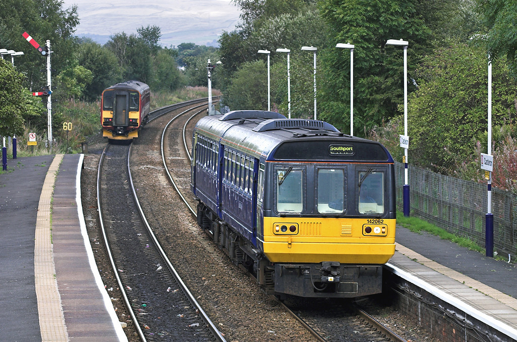 142062 and 155342, Castleton 26/9/2005<br /> 142062: 2F77 1433 Rochdale-Southport<br /> 155342: 2E35 1424 Manchester Victoria-Leeds