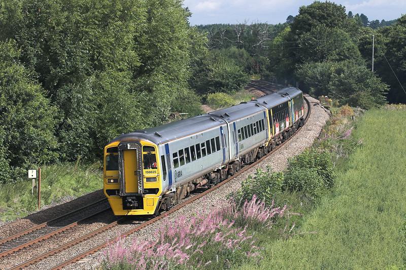 158835 and 158825, Dorrington 27/8/2005<br /> 1V76 0944 Crewe-Cardiff Central