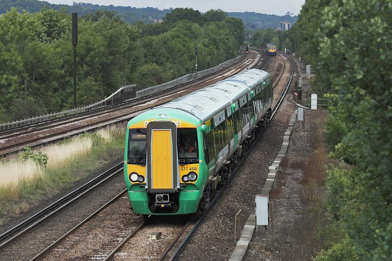 377468 Salfords 28/7/2005<br /> 1A56 1236 London Victoria-Brighton