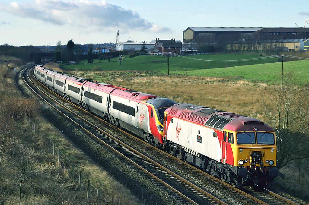 57306 and 390011, Lostock 29/1/2005<br /> 1A59 1358 Preston-London Euston