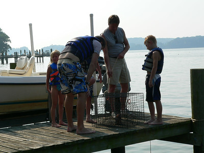 No crabs.  The crab trap was never in the water long enough to catch any.  :-)