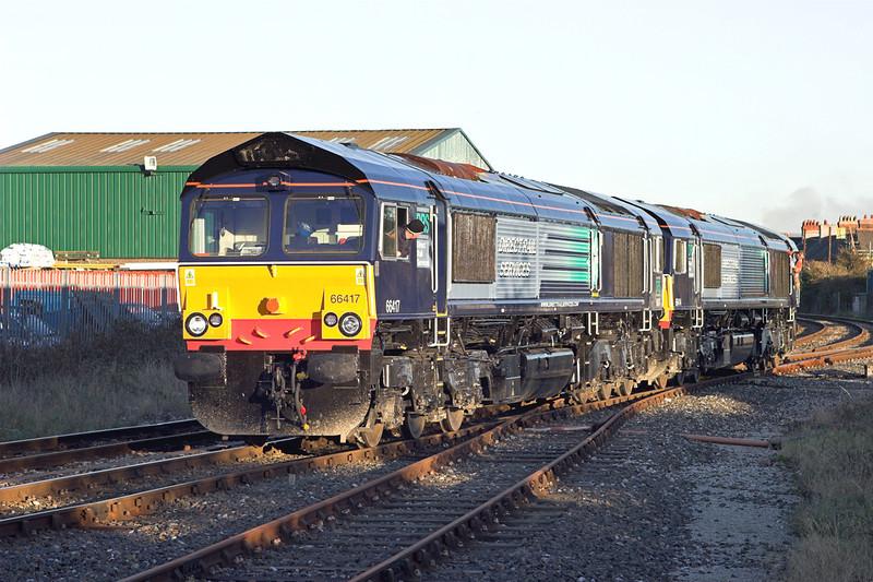 66417 and 66414, Morecambe 2/11/2006<br /> 0C52 1638 Heysham-Sellafield