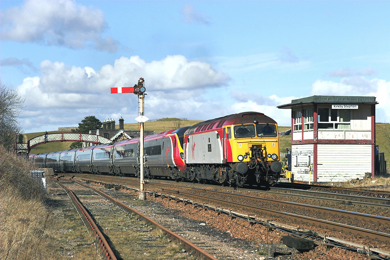 57303 and 390026, Kirkby Stephen 5/3/2006<br /> 1A54 1153 Carlisle-London Euston