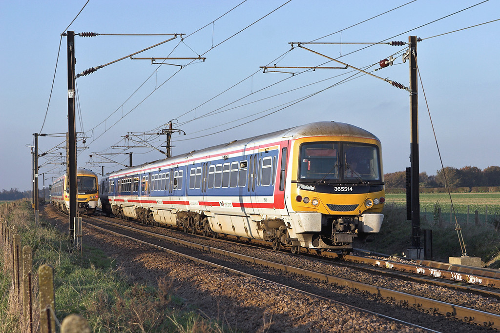 365514 and 365529, Shepreth Branch Junction 6/11/2006<br /> 365514: 1C55 1515 Cambridge-London Kings Cross<br /> 365529: 2C08 1406 London Kings Cross-Cambridge
