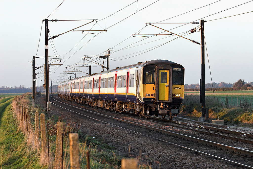 317650 and 317672, Shepreth Branch Junction 6/11/2006<br /> 2H45 1551 Cambridge-London Liverpool Street