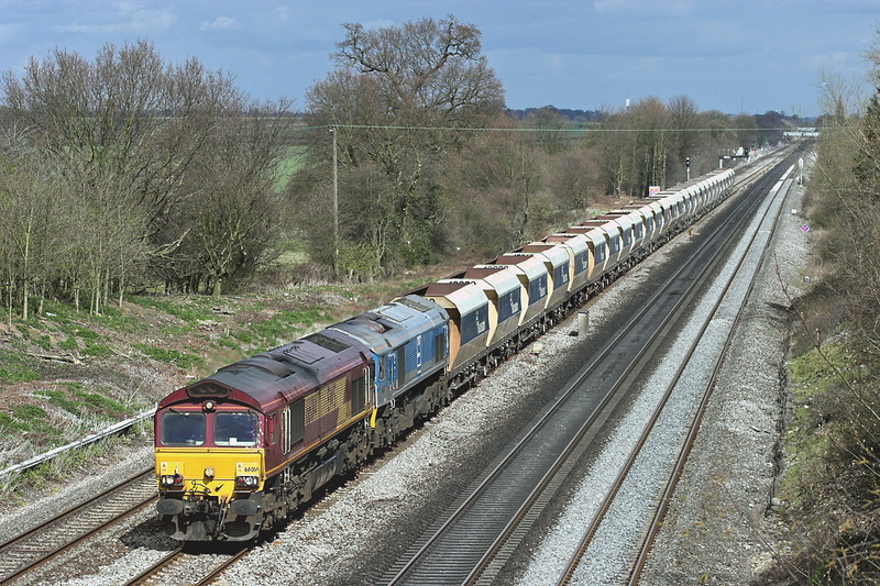 66014 and 59005, Ruscombe 12/4/2006<br /> 6C76 1417 Acton Yard-Whatley Quarry