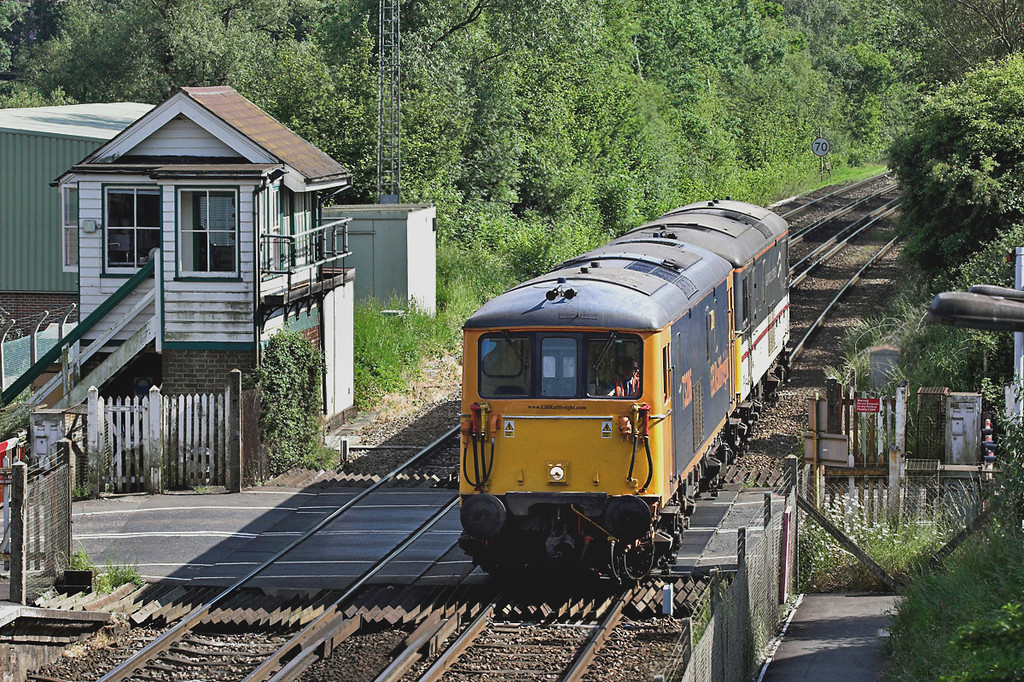 73206 and 73208, Robertsbridge 12/6/2006<br /> 0Z76 1548 St Leonards-Hoo Junction Up Yard