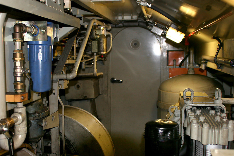 I: Machinery Compartment looking towards No.1 cab. (Bottom right) Compressor, (top centre) brake frame