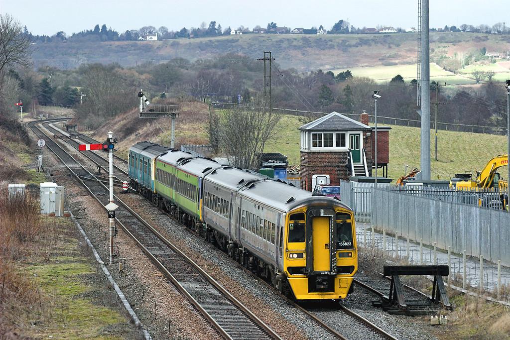 158823, 158849 and 150208, Dorrington 26/2/2006<br /> 1V66 1050 Crewe-Cardiff Central