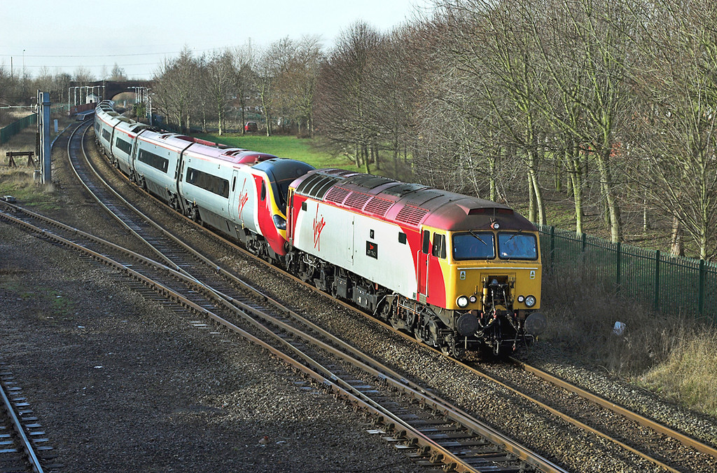 57306 and 390012, Lostock Hall 28/1/2006<br /> 1S40 0708 London Euston-Glasgow Central