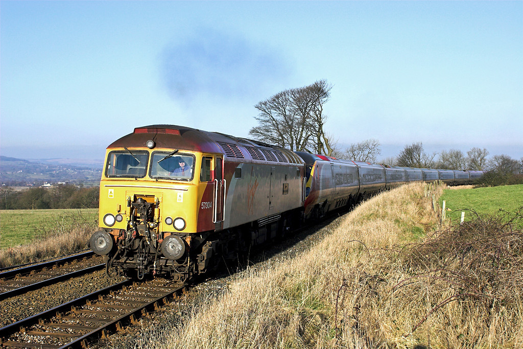 57304 and 390043, Wilpshire 29/1/2006<br /> 1A54 1151 Carlisle-London Euston