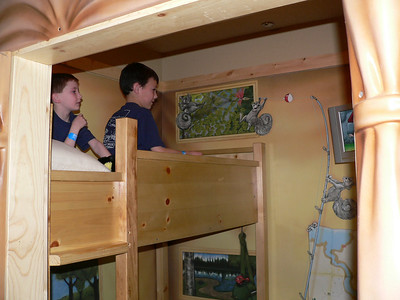 Boys on the top bunk.