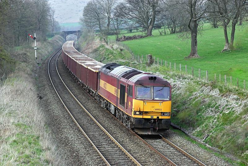 60022 Earles Sidings 12/4/2007<br /> 6Z82 1553 Tunstead-Peterborough Yard