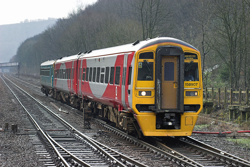 158907 and 153352, Hebden Bridge 21/2/2007<br /> 2M12 0726 Selby-Manchester Victoria