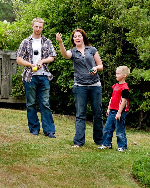 Ryan, Kissanya and John playing Bocchi Ball.<br /> <br /> Ryan is Kissanyas Fiance and Kissanya is Dereks cousin.
