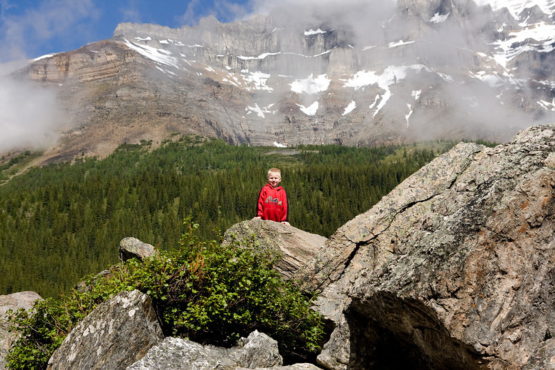 I couldn't keep John from climbing around on the rocks at Moraine Lake. I was wondering how long it would be before he fell and hurt himself.