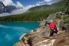 John had a blast climbing on the rocks at Moraine Lake.