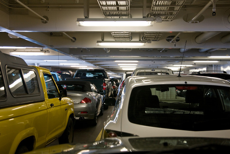 A very tiny view of the cars on the ferry. I always hate trying to find my car.<br /> <br /> We are waiting to dock back on the Vancouver end of the trip.