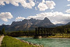 An old rail bridge now used as part of a foot path. Canmore Alberta.