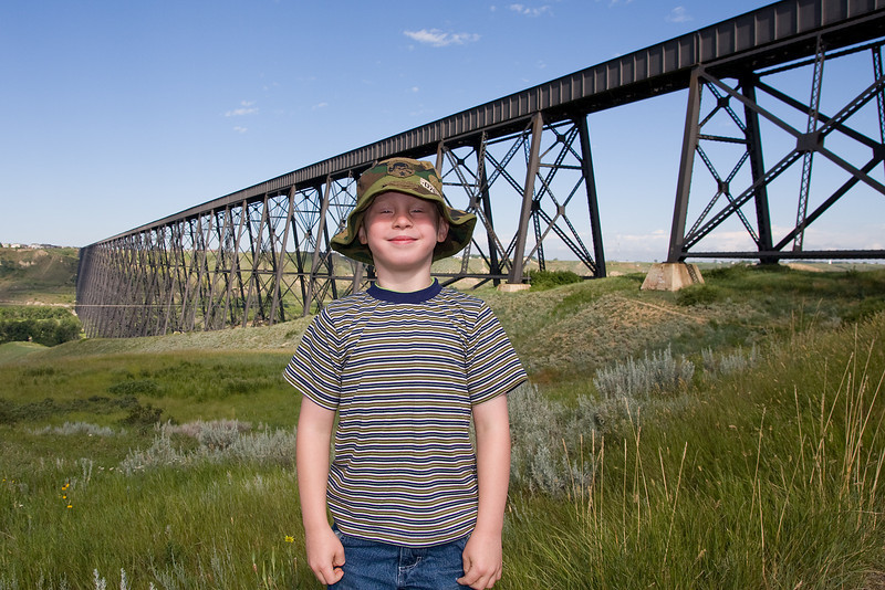 John with the CP Rail High Level Bridge in the background. Lethbridge, Alberta.