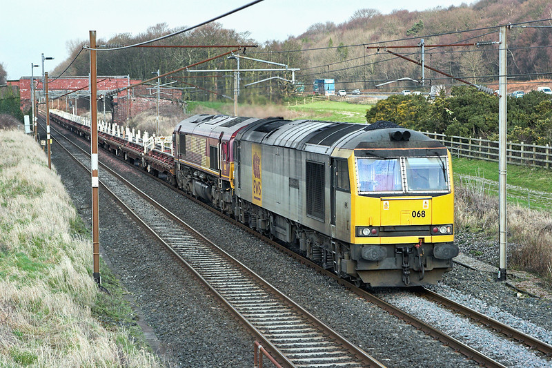 60068 and 66090, Woodacre 3/1/2008<br /> 6L30 0925 Carlisle Yard-Basford Hall