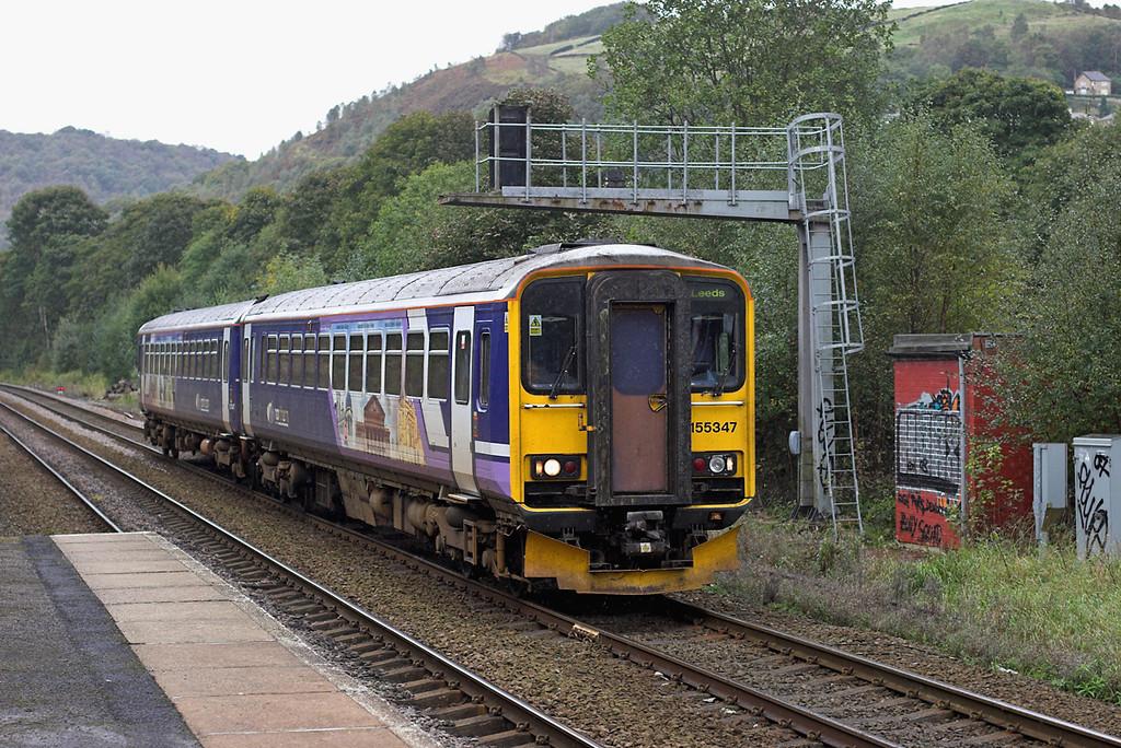 155347 Hebden Bridge 3/10/2008<br /> 2E15 0924 Manchester Victoria-Leeds