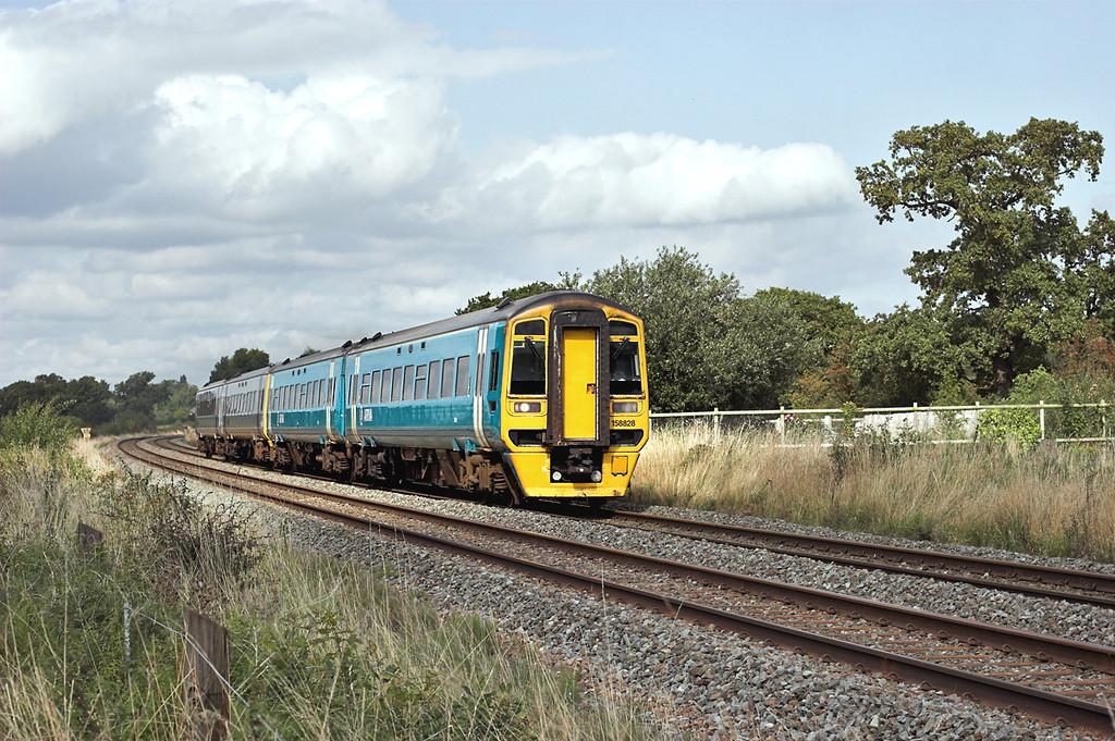 158828 and 158832, Rowton 13/9/2008<br /> 1K15 1229 Chester-Crewe