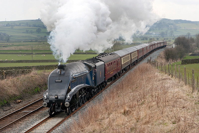 60007 'Sir Nigel Gresley', Long Preston 16/4/2008<br /> 5Z23 1058 Carnforth-Carnforth<br /> (via Hellifield, Blackburn)