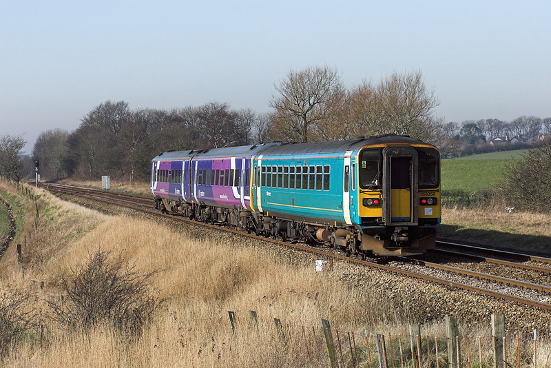 153352 and 158910, Treales 18/2/2008<br /> 1B24 0911 York-Blackpool North