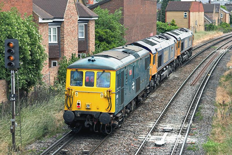 73208, 66702 and 66704, Egham 19/6/2008<br /> 0Z14 0930 Eastleigh-Wembley