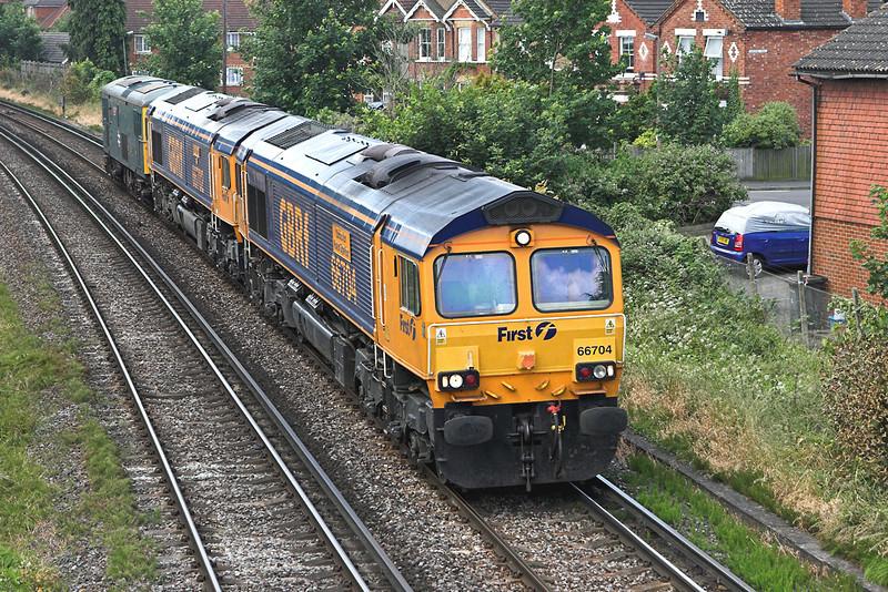 66704, 66702, and 73208, Egham 19/6/2008<br /> 0Z14 0930 Eastleigh-Wembley