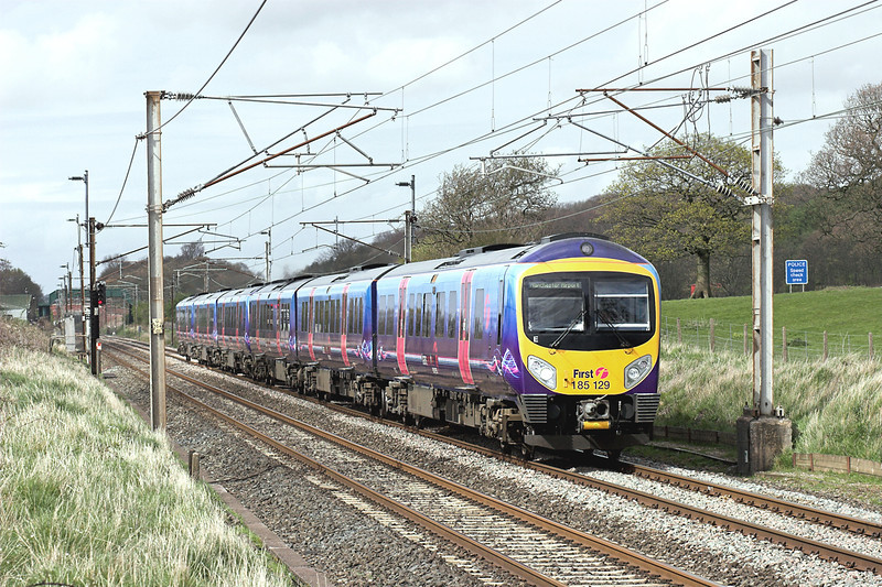 185129 and 185132, Woodacre 24/4/2008<br /> 1H58 1410 Barrow in Furness-Manchester Airport