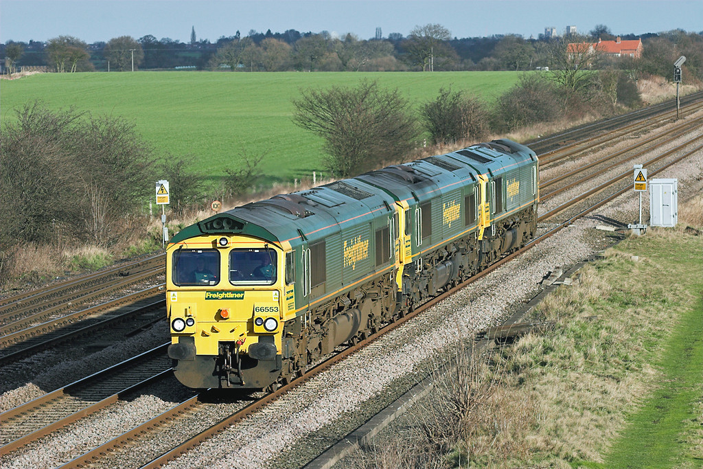 66553, 66605 and 66951, Colton Junction 30/1/2008<br /> 0F22 0830 Tees Dock-Leeds Midland Road
