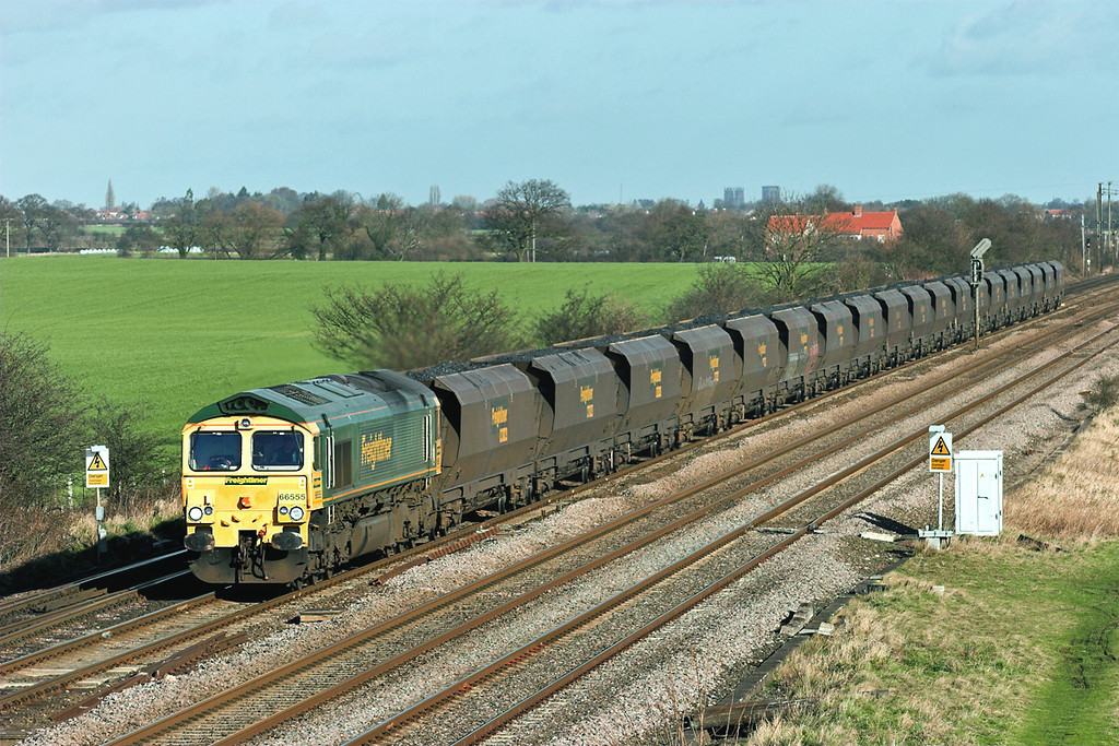 66555 Colton Junction 30/1/2008<br /> 6Y50 0836 Butterwell-Eggborough PS