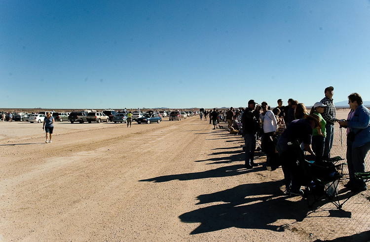 A crowd of what must have been a thousand people were out to watch the shuttle land.  With the unexpectedly large crowd and traffic jam in the parking area, we parked less than 15-minutes before the landing.  In this photo, you can see even later arrivals still lined up to park.