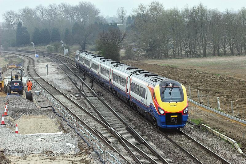 222003 Harrowden Junction 3/4/2009<br /> 1K26 1100 London St Pancras-Kettering