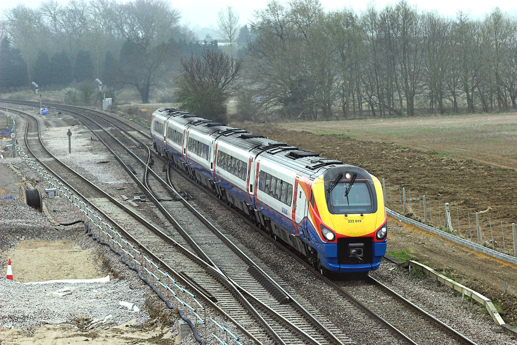 222019 Harrowden Junction 3/4/2009<br /> 1D24 1030 London St Pancras-Nottingham
