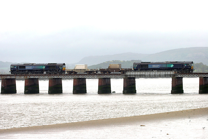 66426 and 66425, Arnside 6/5/2009<br /> 6C51 1258 Sellafield-Heysham PS
