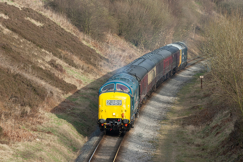 55022 and 50015, Heap Bridge 14/3/2009<br /> 2J89 1635 Heywood-Rawtenstall