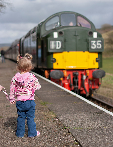 """Toddler and a Whistler"", D335 Irwell Vale 15/3/2009"