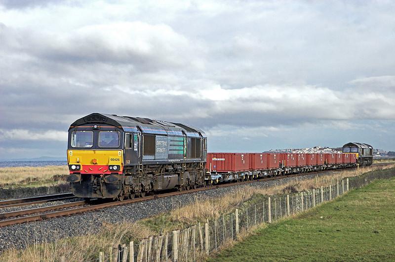 66426 and 66420, Siddick 17/12/2009<br /> 6C36 1010 Workington Dock-Drigg