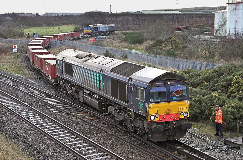 66420 and 66426, Derwent Junction 17/12/2009<br /> 6C36 1010 Workington Docks-Drigg