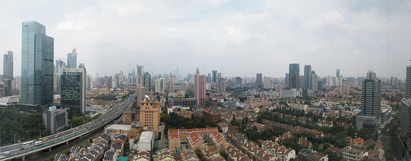 Shanghai Skyline, as seen from our 24th floor room. Select 'O' (Original) size to see the full-sized panorama.