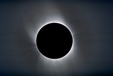 Composited image showing coronal extensions.  One of the disappointments of this eclipse was the hazy sky, which made it impossible to photograph the full extent of the corona.