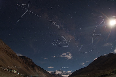 Moon and Milky Way Over Mt. Everest, with constellation outlines added for our non-astronomy friends.