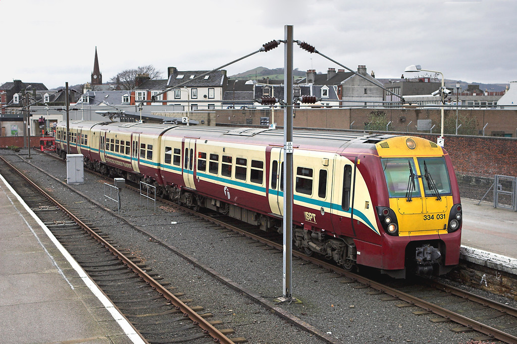 334031 Largs 27/2/2009<br /> 1T10 1253 Largs-Glasgow Central