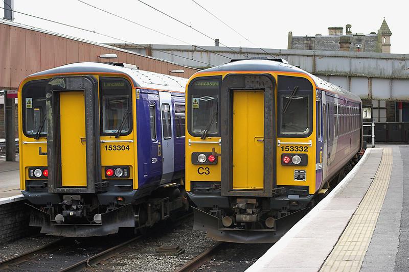 153304 and 153332, Lancaster 31/1/2009<br /> 153304: 2C43 1422 Lancaster-Carlisle<br /> 153332: 2C77 1324 Lancaster-Morecambe