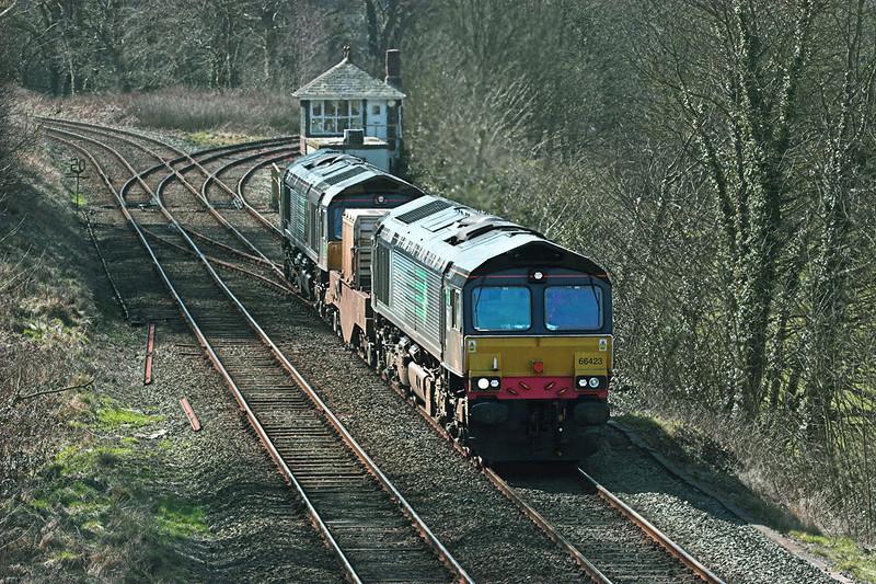 66423 and 66427, Dalton Junction 1/4/2010<br /> 6C52 1605 Heysham-Sellafield