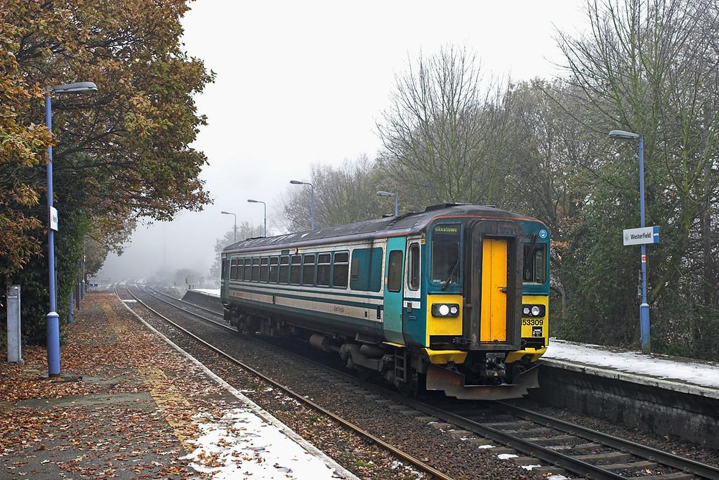 153309 Westerfield 6/12/2010<br /> 2R11 1056 Felixstowe-Ipswich