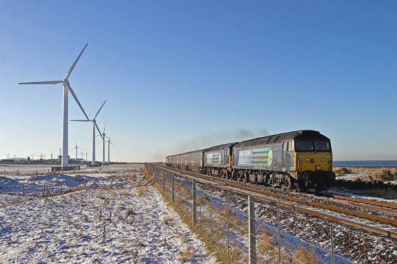 57012 and 57008, St Helens 8/1/2010<br /> 2T28 1220 Workington-Maryport